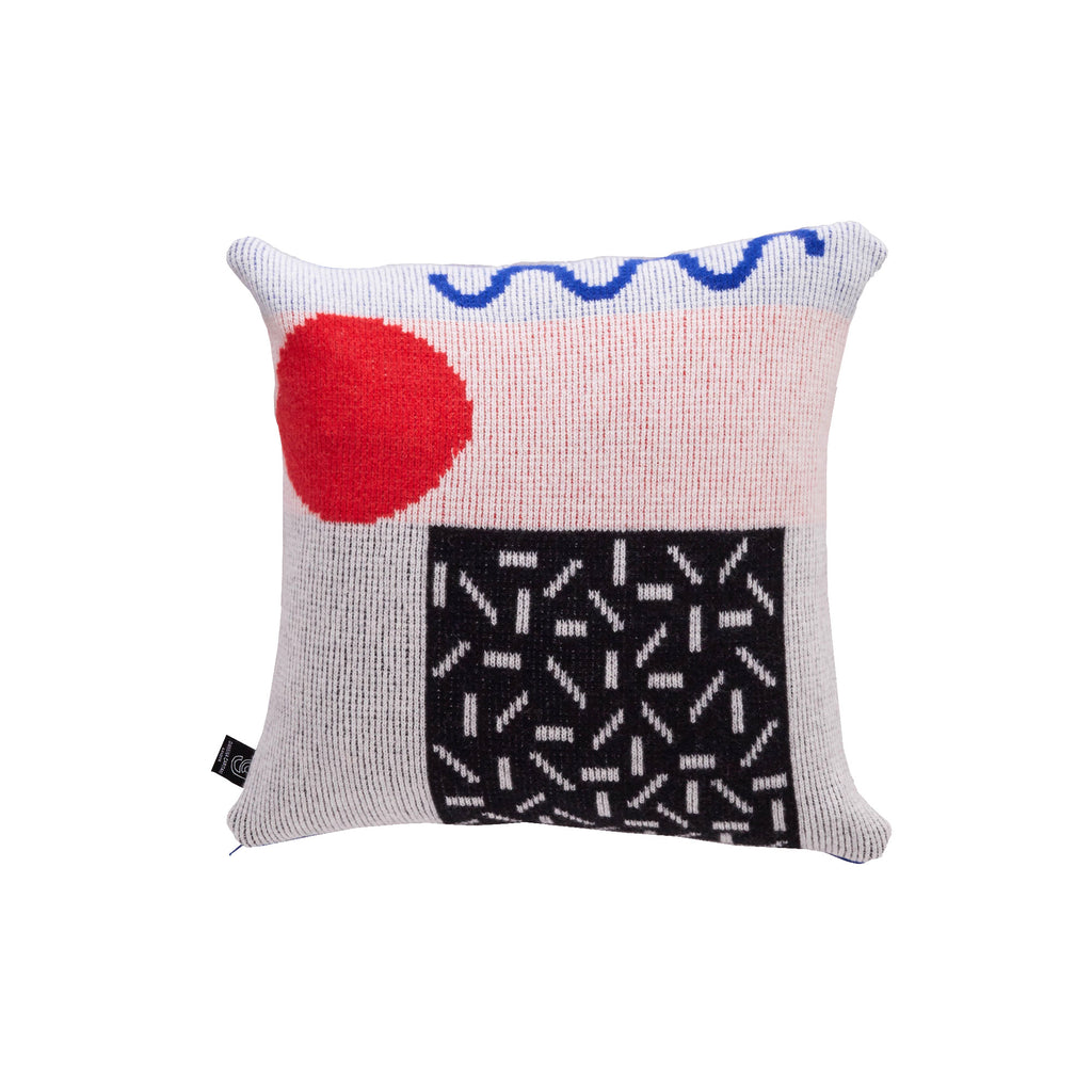 Etto Cushion in Black & Red - HOWKAPOW