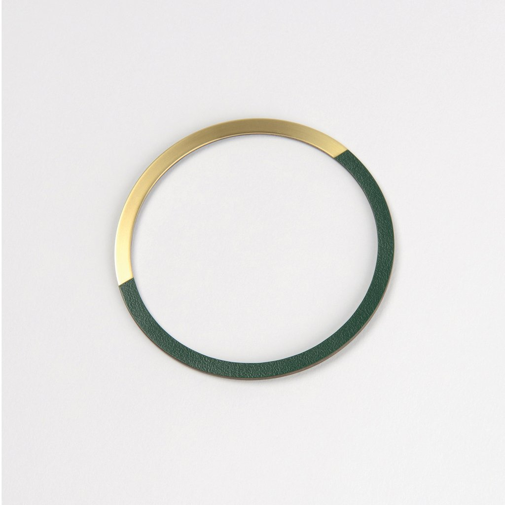 Form Bangle Circle Brass/Forest - HOWKAPOW
