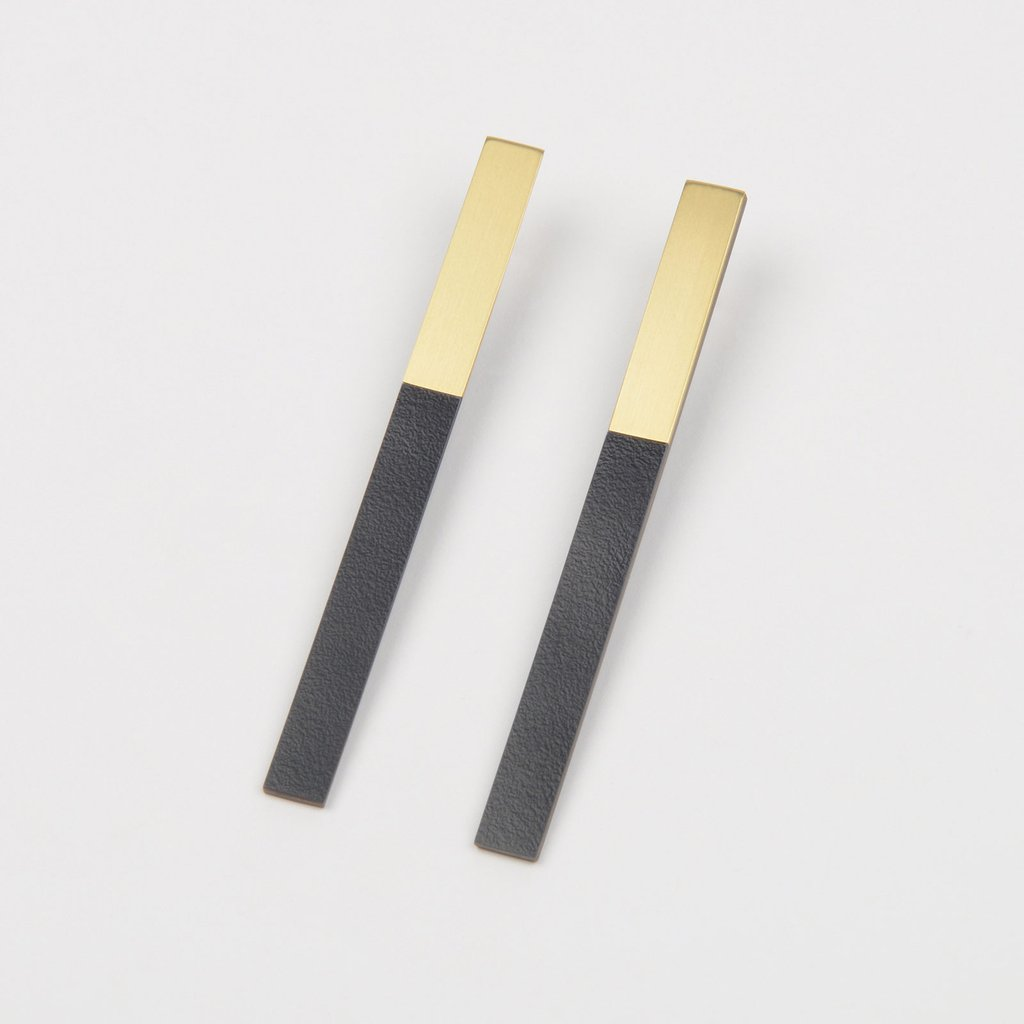 Form Bar Earrings Brass/Midnight - HOWKAPOW