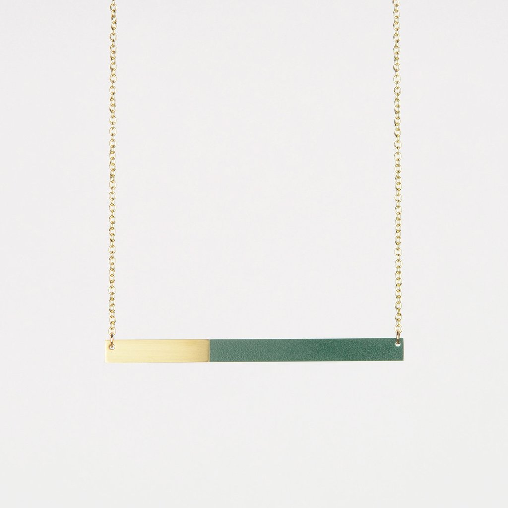Form Bar Necklace Brass/Forest - HOWKAPOW