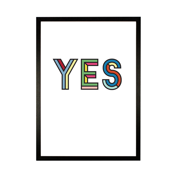 Yes Typographic Print - HOWKAPOW