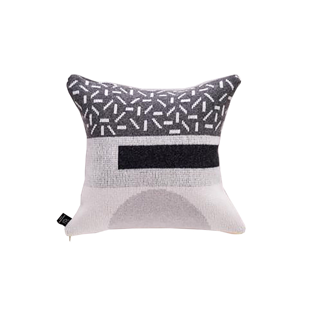 Forma Cushion in Greyscale with Yellow Zip - HOWKAPOW