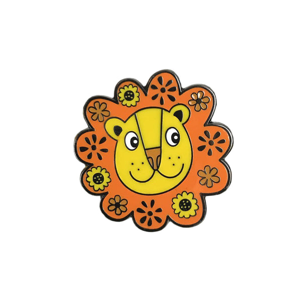 Flower Power Lion Enamel Pin - HOWKAPOW
