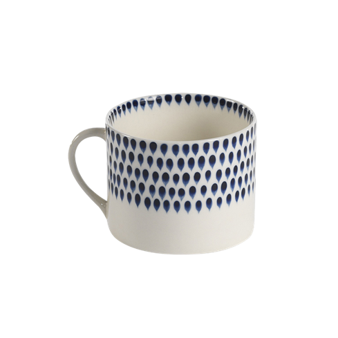 Cream & Indigo Drop Short Mug - HOWKAPOW