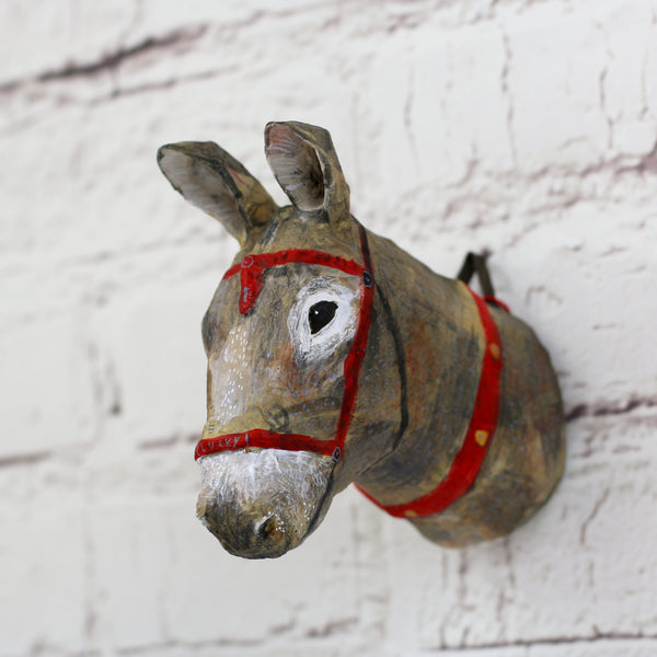 Seaside Donkey Papier Mache Wall Hanging - HOWKAPOW