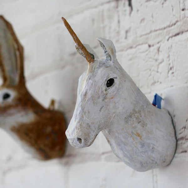 Unicorn Papier Mache Wall Art - HOWKAPOW