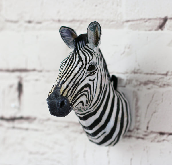 Zebra head Papier Mache Wall Hanging - HOWKAPOW