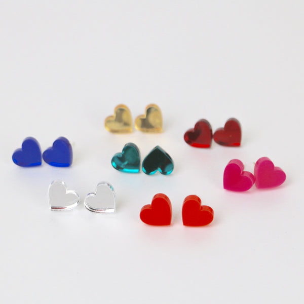 Acrylic Love Heart Stud Earrings - HOWKAPOW