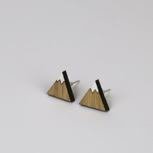 Wooden Mountain Earrings - HOWKAPOW
