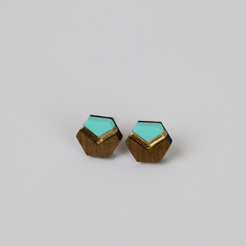 Spearmint Acrylic Geometric Stud Earrings - HOWKAPOW