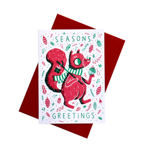 Squirrel Friends Season Greetings Christmas Card Set - HOWKAPOW
