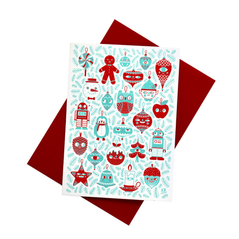 Christmas Baubles Screen Printed Christmas Card Set - HOWKAPOW