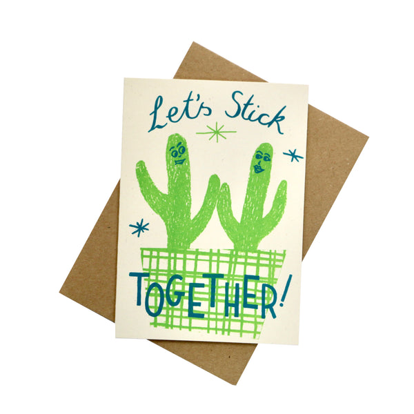 Let's Stick Together Screen Printed Card - HOWKAPOW