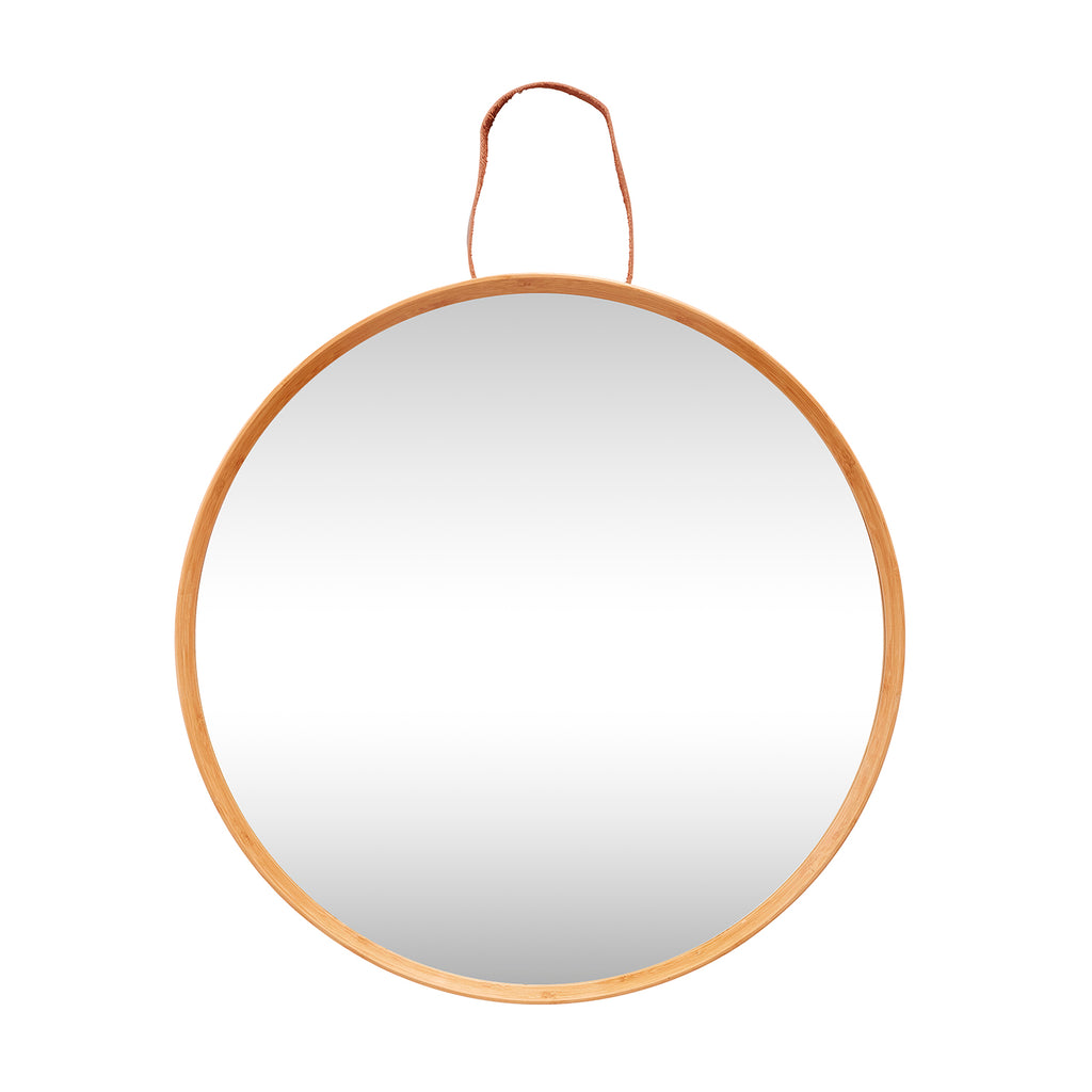 Mirror with Natural Wood and Leather Frame - HOWKAPOW