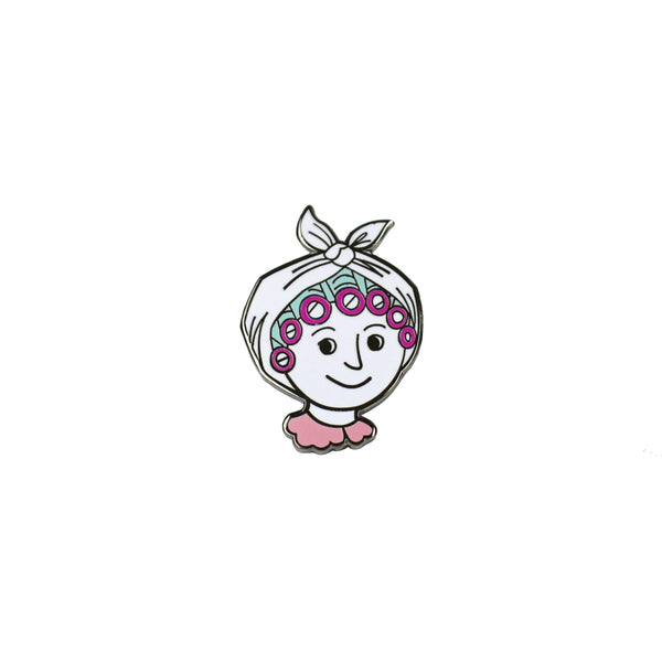 Lady with Rollers Enamel Pin - HOWKAPOW