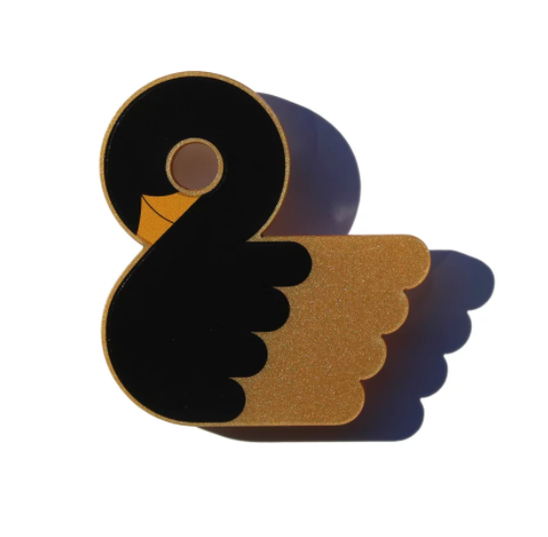 Gold Black Swan Brooch - HOWKAPOW