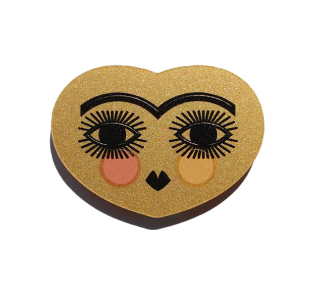 Frida Kahlo's Golden Heart and Eyebrows Brooch - HOWKAPOW