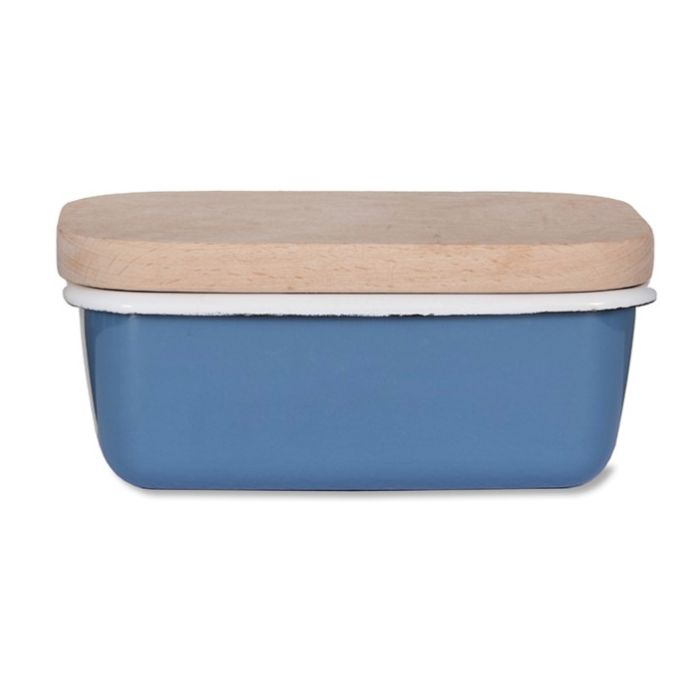 Enamel Butter Dish with Wooden Lid in Dorset Blue