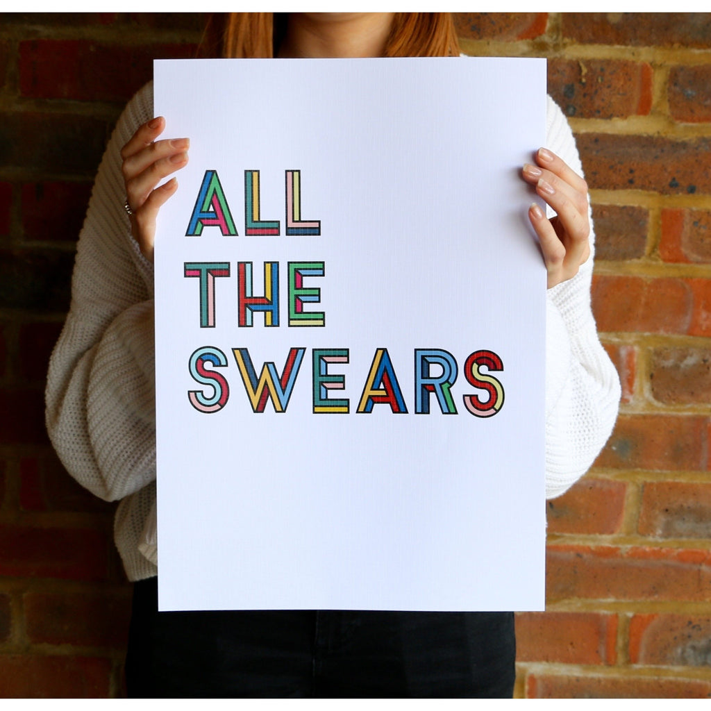 All The Swears Typographic Print - HOWKAPOW