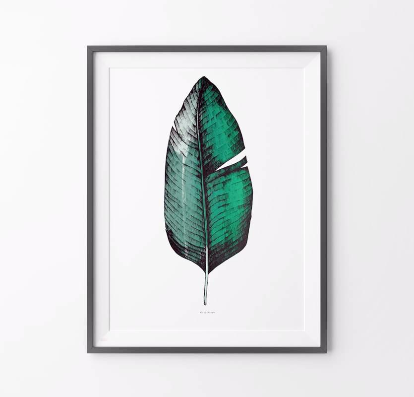 Banana Leaf Screen Print A1 size - HOWKAPOW