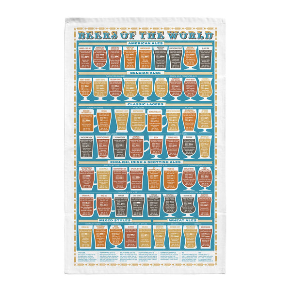Beers Of The World Tea Towel - HOWKAPOW