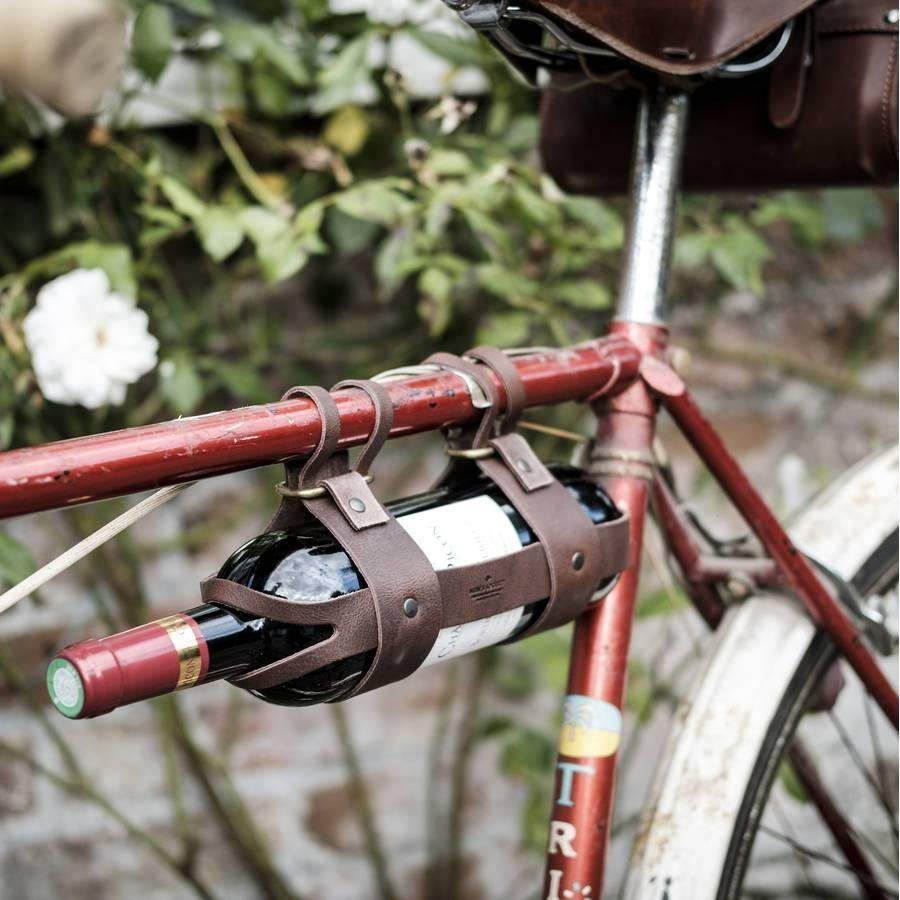 Bicycle Leather Wine Bottle Holder by Men's Society - HOWKAPOW