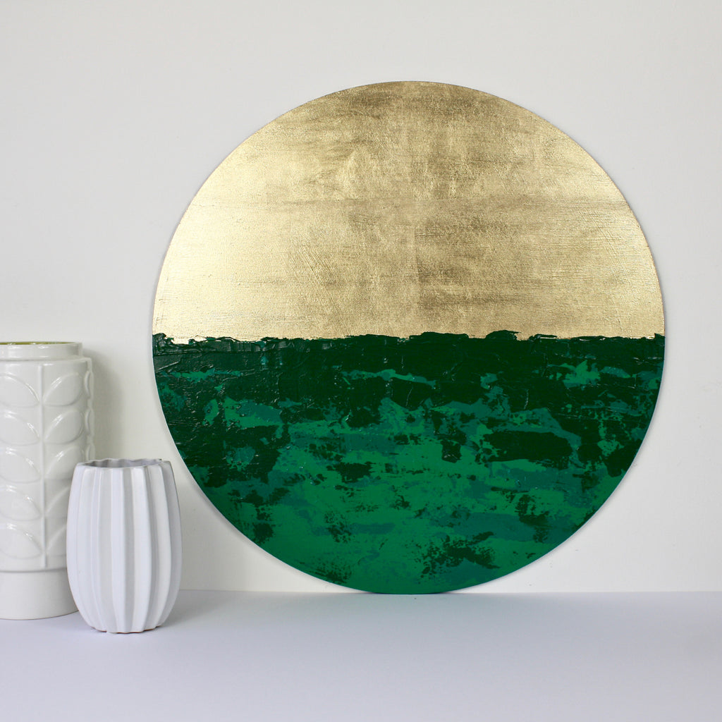 Bespoke Circular Abstract 'Emerald Isles' - HOWKAPOW - Gold