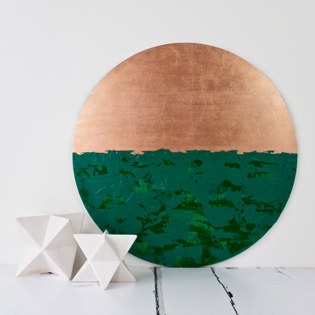 Bespoke Circular Abstract 'Emerald Isles' - HOWKAPOW - Copper