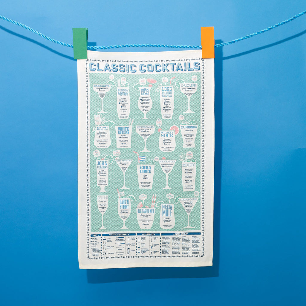 Classic Cocktails Tea Towel - HOWKAPOW