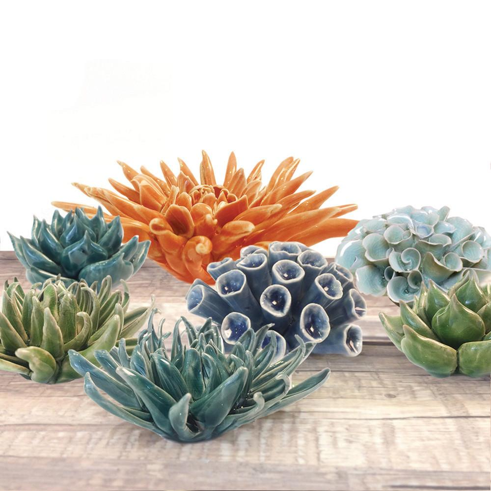 Teal Ceramic Coral Flower - HOWKAPOW