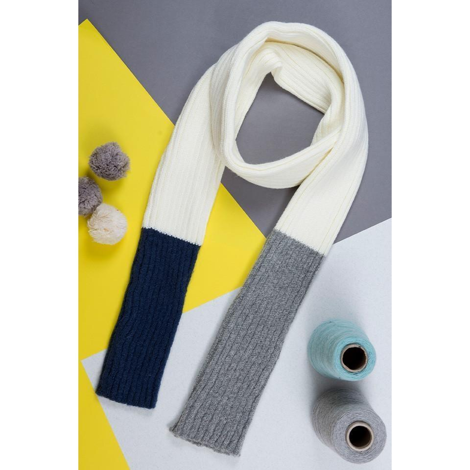 Cream, Grey and Navy Mohair Skinny Scarf - HOWKAPOW