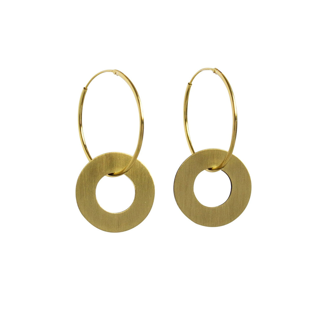 Disc Charm Hoop Earrings from Wolf and Moon - HOWKAPOW