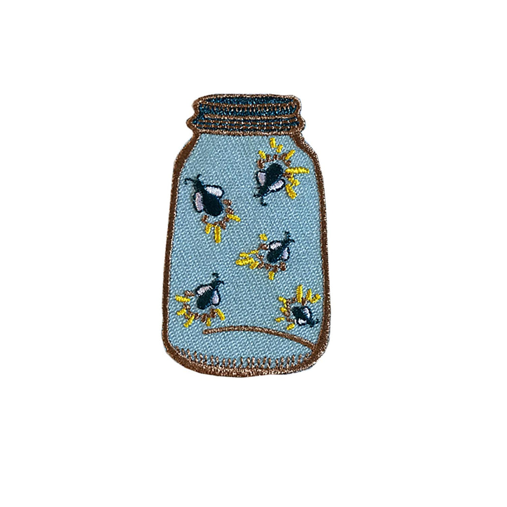 Firefly Mason Jar Iron On Embroidered Patch - HOWKAPOW