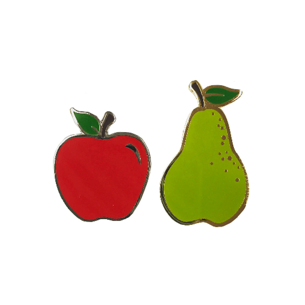 Apples and Pears Enamel Pin Set - HOWKAPOW