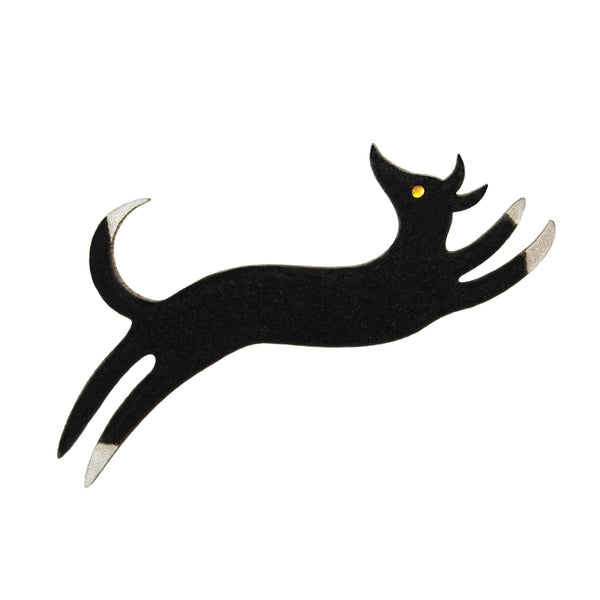 Flocked Dog Brooch - HOWKAPOW