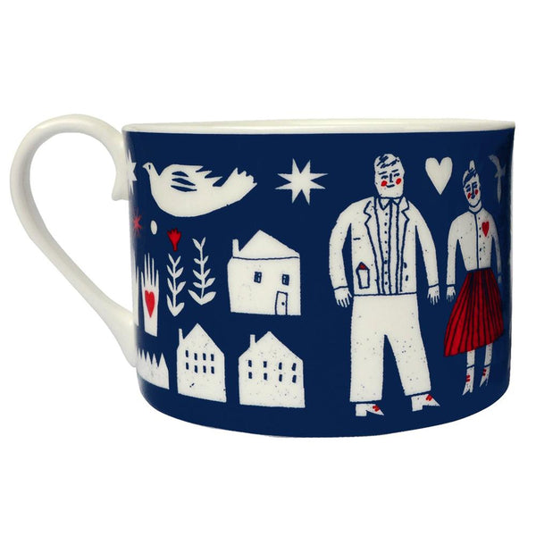 Folk Life Bone China Cup - HOWKAPOW
