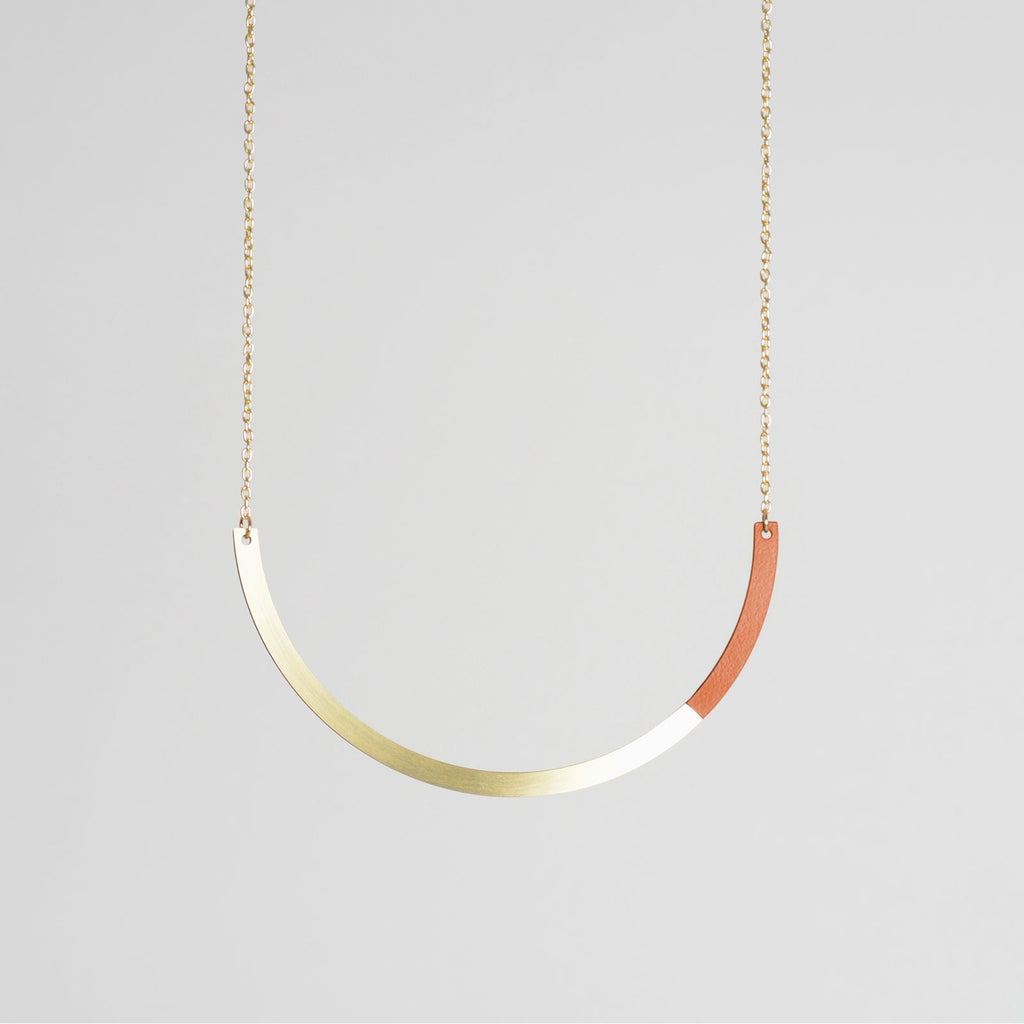 Form Necklace Circle Brass/Tan - HOWKAPOW