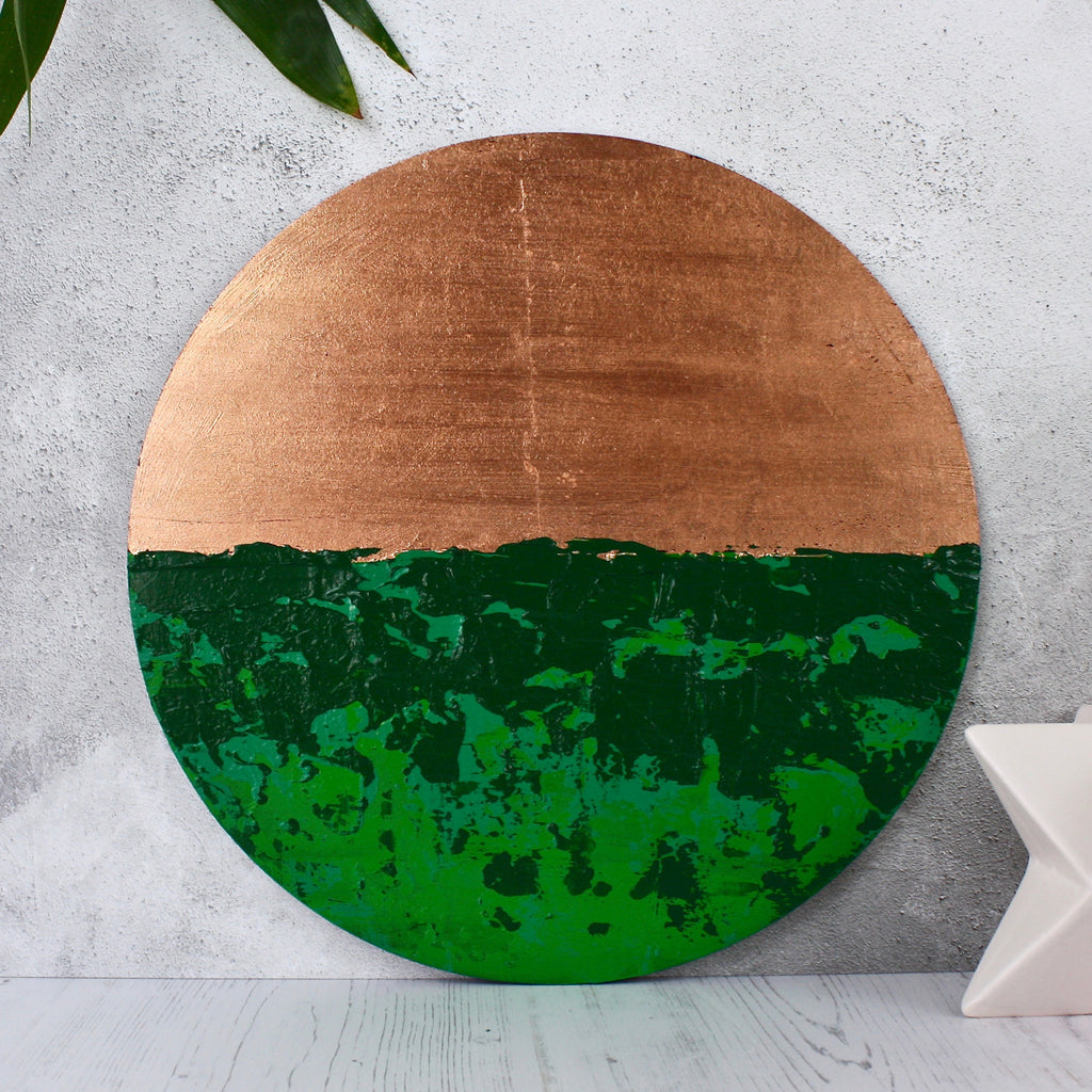 Bespoke Circular Abstract Green - HOWKAPOW - Copper