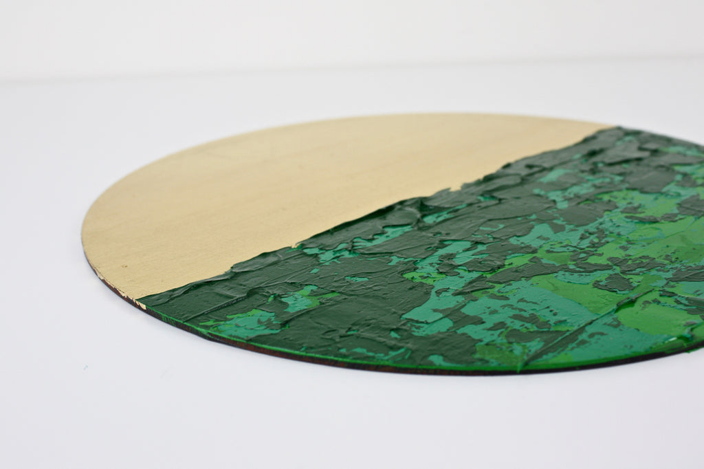 Bespoke Circular Abstract Green - HOWKAPOW - Gold