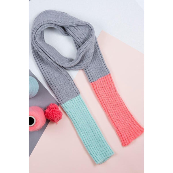 Grey, Salmon and Mint Mohair Skinny Scarf - HOWKAPOW