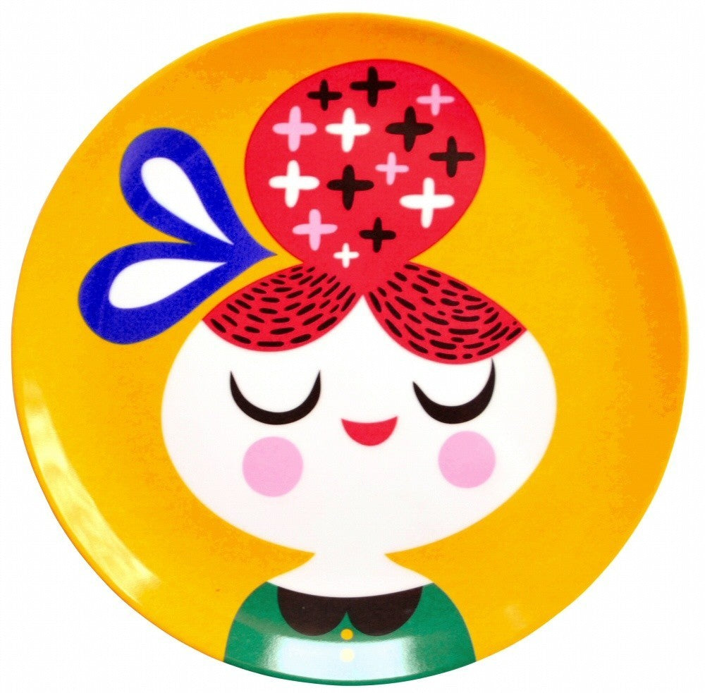 Melamine Plate Girl Yellow - HOWKAPOW