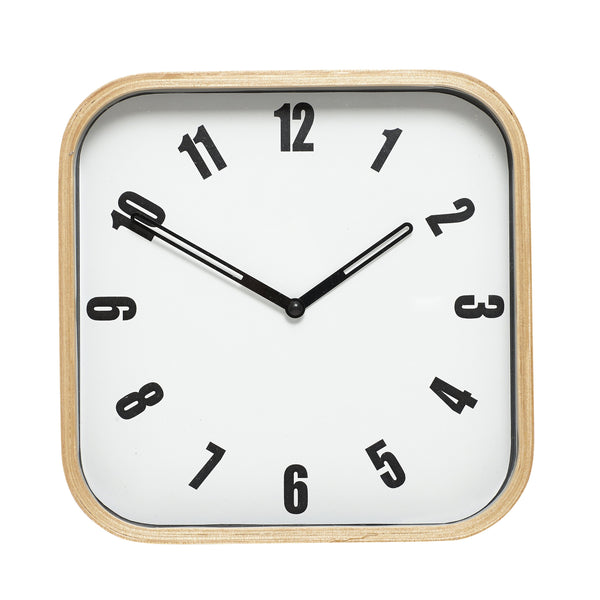 Hubsch Simple Square Wooden Clock - HOWKAPOW