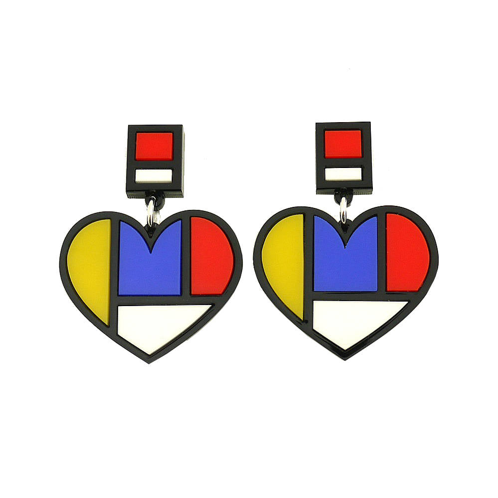 Mondrian Style Heart Statement Earrings - HOWKAPOW