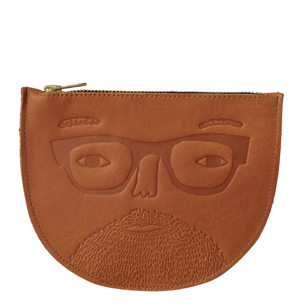 Johnny Leather Zip Pouch - HOWKAPOW