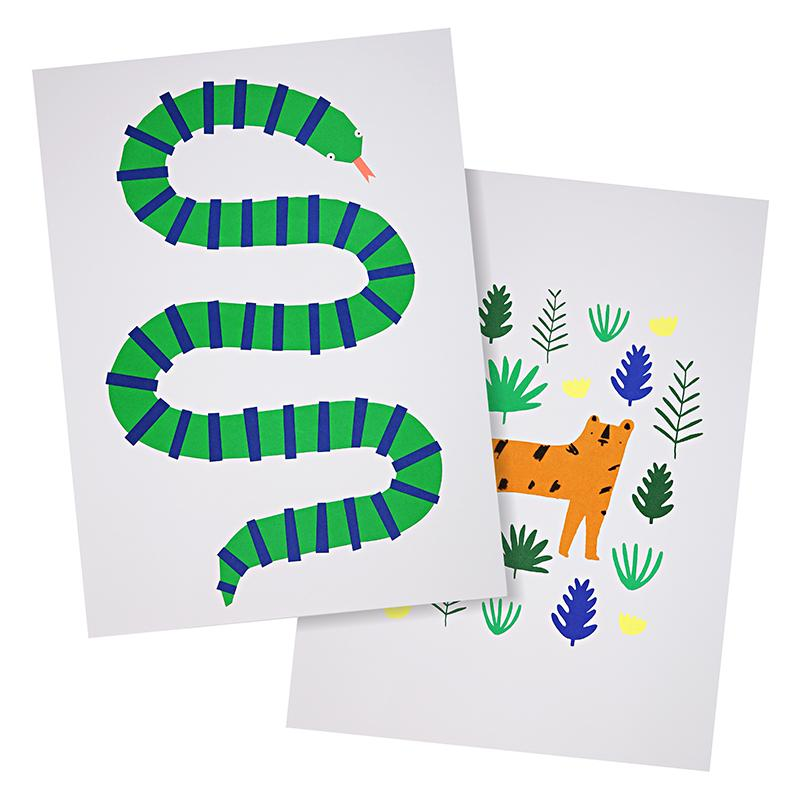 Jungle Art Prints Pair - HOWKAPOW