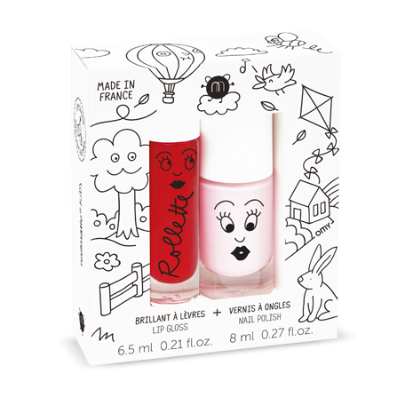 Cottage - Cherry/Bella - Rollette Lip Gloss & Polish Duo - nailmatic® kids - HOWKAPOW