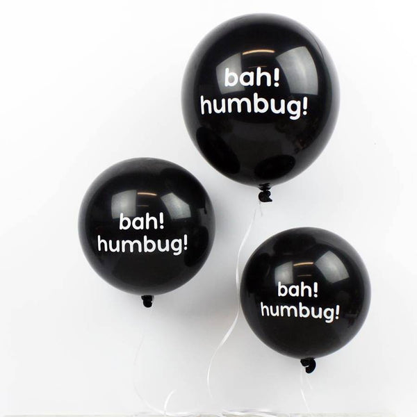 Pack Of Six Or Ten Christmas Bah! Humbug! Balloons - HOWKAPOW