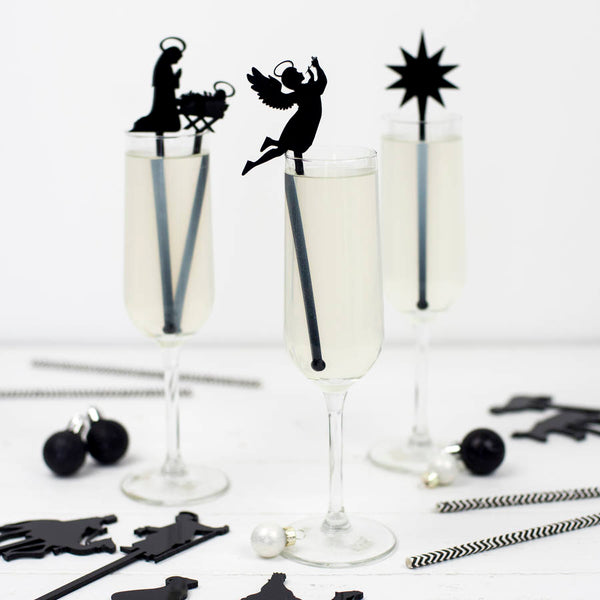 Set Of Ten Nativity Scene Cocktail Stirrers - HOWKAPOW
