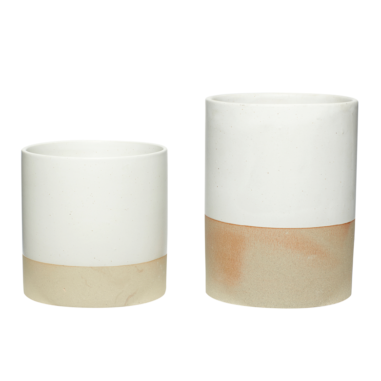 Pair of Ceramic Pots by Hubsch - HOWKAPOW