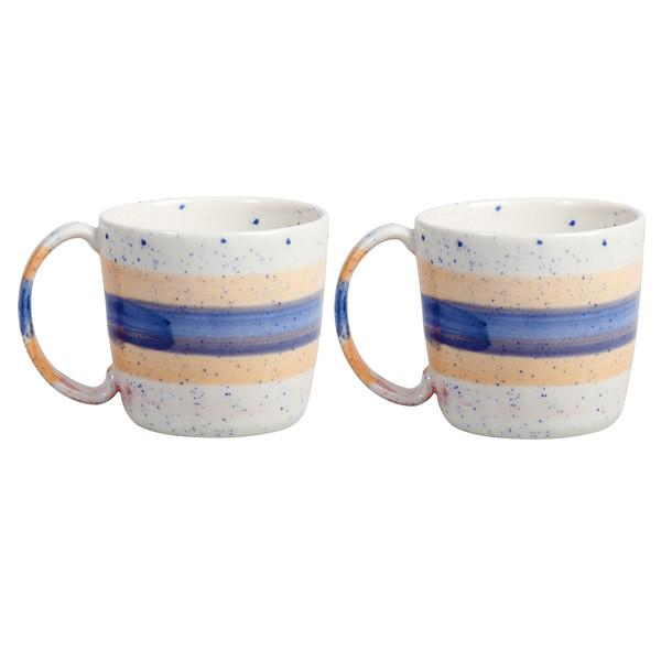 Pair of Mugs - Brush Blue - HOWKAPOW